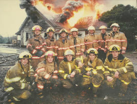 Saanich Fire Department recruits practicing house burns on Holland Avenue, 1998