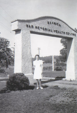 Arch of Saanich War Memorial Health Centre, Lavinia in front, ca. 1941