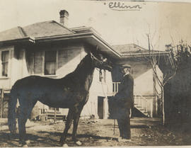 "Mr Henderson with ""Ellinor"" the horse, Carey Road"
