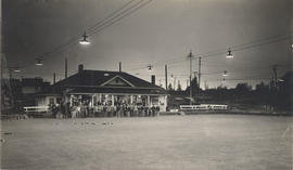 Outdoor lights for night bowling, and club members at Hampton Hall, Burnside Lawn Bowling Club