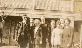 Saanich employees outside Municipal Hall on West Saanich Road, 1918