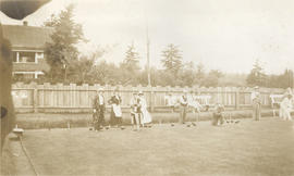 Bowlers playing in fancy dress, Burnside Lawn Bowling Club