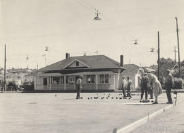 Bowling on the greens in front of Hampton Hall, Burnside Lawn Bowling Club