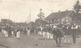 Men bowling on the greens at Burnside Lawn Bowling Club