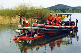 Saanich Fire Department's Zodiac boat and trailer at Elk Lake