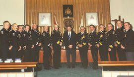 Saanich Fire Department long service awards in the Saanich Council Chambers, ca. 2002 (Mayor Leon...