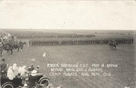229th Battalion pass in review before Brigadier General J. Hughes at Camp Hughes, Manitoba, Augus...