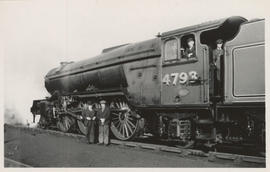 E.H. Livesay and one of the locomotives he rode on, in England