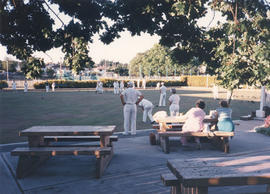 Bowling on the greens near the picnic area at Burnside Lawn Bowling Club