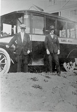 The Stewarts with the first Lakehill bus
