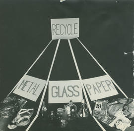 Demonstration of recycling metal, glass and paper