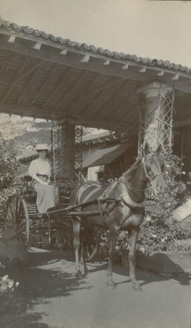 Member of the Beale family in a carriage below a porte-cochere