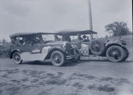 Olive and Alec Gray with friends driving to Campbell River, 1930