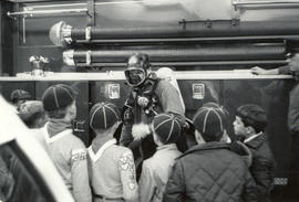 Cub Scouts visiting Saanich Fire Hall, Fire Prevention Week, 1969