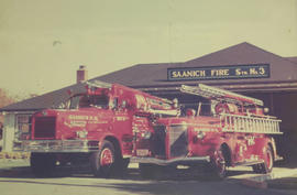 1957 FWD and 1940 La France outside Saanich Fire Station No. 3, Shelbourne Street, 1961