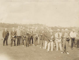 Group portrait of bowlers at Burnside Lawn Bowling Club
