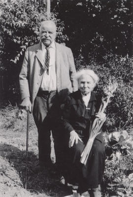 Amos and Jane Mepham on their golden wedding anniversary, 1949