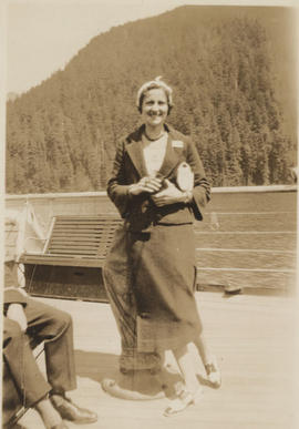 Betty Cress on ferry to Portland, 1932