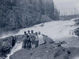 Olive Gray and friends at Elk Falls, Vancouver Island, 1930