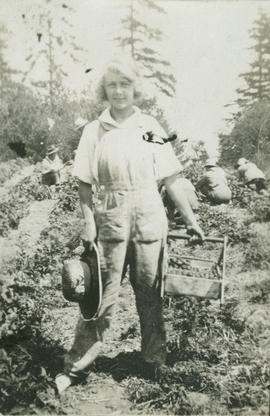 Barbara Hope picking strawberries in Gordon Head