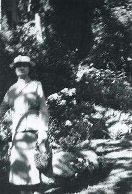 Woman standing in [Stranton Lodge garden]