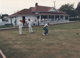 Men bowling on the greens in front of Hampton Hall, Burnside Lawn Bowling Club