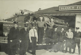 Saanich Fire Department outside Fire Station No. 3, 1968