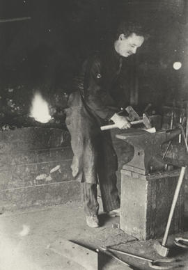 William Wallace Gibson at his forge (Saskachewan)