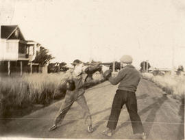 Bill and Fred Ruby boxing on Ruby Road (later McKenzie Avenue), 1934