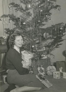 Sheila MacDonald and infant daughter, Christmas Eve
