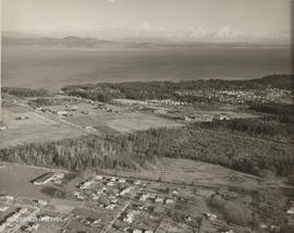 Aerial view of Gordon Head,  showing University of Victoria campus under construction and Gordon ...