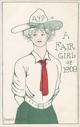 Postcard captioned: A fair girl of 1909