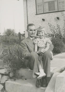 Eileen Archer on her 5th birthday with her father Arthur Archeron outside their home at 2957 Oril...