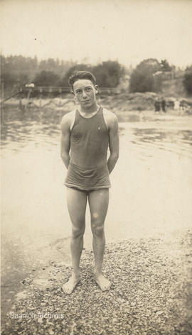 Swimmer Ken Darbyshire at Deep Cove