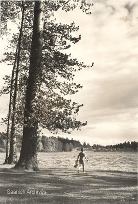 Boy on the beach at Elk Lake
