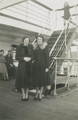 Emily Agnes (nee Burke) Underwood and Laurraine (nee Goldie) Underwood on boat to Vancouver befor...