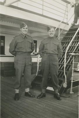 Brothers Leslie and Ernest Underwood on boat to Vancouver before going overseas