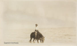 George McMorran Sr. riding a horse, Cordova Bay