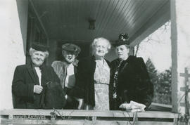 Claire Yardley, Jean Mutter, Nellie McClung and Mrs. Will Bird at Lantern Lane, 1949