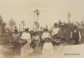 Geoffrey Vantreight with First Nations farm workers on the Vantreight strawberry farm in Gordon H...