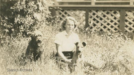 Annie Ashbridge with dogs, July 1932