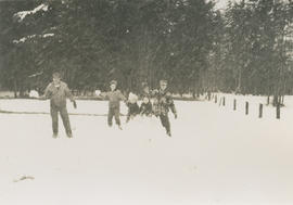 Underwood family playing in the snow at 5424 Fowler Road