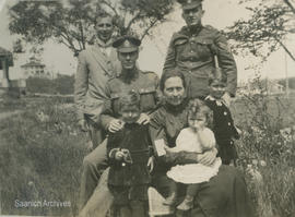 Dawson family and Margaret Irvine with WWI soldier at Rose Bank farm