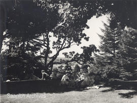 Victoria College, students studying outside, 1956