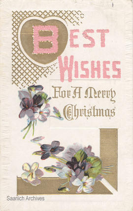 Christmas card with flowers and caption: Best wishes for a Merry Christmas