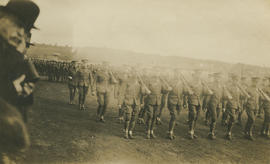 Soldiers marching [at Willows Camp]