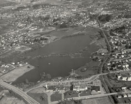 Aerial photo of Swan Lake in flood, March 10, 1977