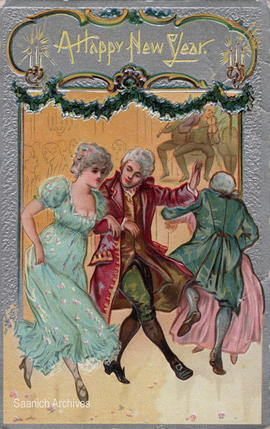 Happy New Year card depicting a couple dancing