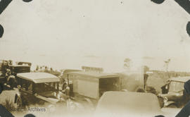Vehicles parked for arrival of Royal Navy and Royal Australian Navy ships (Special Service Squadron)