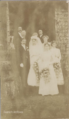 Wedding of Cordova Bay resident Esther Carmichael and William Quick, 1909